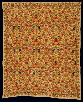 Embroidered bedspread with multi-coloured foliate and floral motifs, birds and heraldic beasts: a rare, if not unique, surviving example of earlier Cretan bridal bedclothes. Late 17th-early 18th c. 1.51x1.25 m. Gift of Christopher Tower. (ΓΕ 32646) image and text copyright Benaki Museum