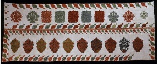 Embroidered bed valance with the distinctive raised technique unique to Rhodes, a Dodecanese island, and stylised subjects. 18th-19th c. (ΓΕ 6607) image and text copyright Benaki Museum