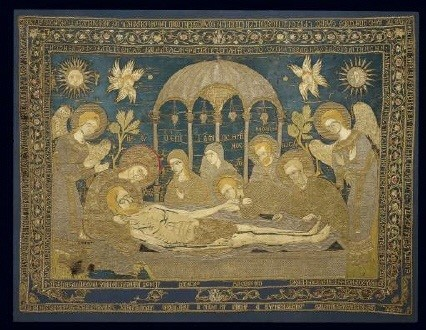 Gold-thread embroidered and inscribed epitaphios bearing a representation of the Lament, dedicated to the Church of St George at Ankara. One of the most impressive examples of Post-Byzantine art made by the renowned embroideress Despoineta in Constantinople. 1682. 1.12x1.50 m. (ΓΕ 34604) image and text copyright Benaki Museum