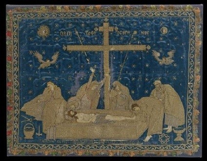 Silver-thread embroidered antimensium bearing the representation of the Lament. The figures of wailing women are depicted beneath the double Cross of the Resurrection. Possibly from a Danubian Principality workshop. Middle of the 16th c. 0.40x0.53 m. (ΓΕ 34682)   image and text copyright Benaki Museum