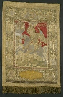 St George the dragon-slayer. 1731. Gem-studded, gold-thread embroidered icon from the church of St George in Argyroupolis, Pontos. (ΓΕ 33712)   image and text copyright Benaki Museum