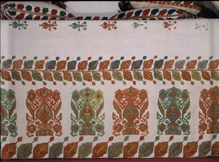 Valance of a bed, decorated with stylised designs of flowers, flowerpots and leaves, rendered in the distinctive raised technique unique to Rhodos, a Dodecanese island. 18th-19th c. (ΓΕ 6609) image and text copyright Benaki Museum