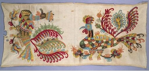 Hoopoe; detail of embroidered hem of a bridal sheet, from Skyros, a Sporades island. The hoopoe, or rather the cockerel, appears in several versions in neo-Hellenic art and possesses an apotropaic-talismanic symbolism, beyond which lies a wish for fertility but also for the fighting strength that might protect it. Late 18th-early 19th c. (ΓΕ 6381) image and text copyright Benaki Museum