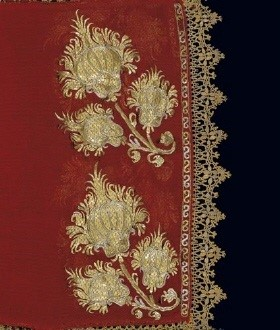 Detail of the gold-thread embroidery on a sleeve of a bridal chemise. From Skyros island, 18th-19th c. (EE 664) image and text copyright Benaki Museum