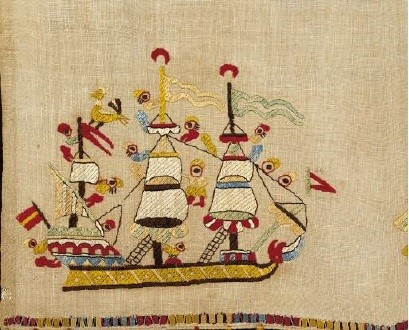 Embroidery on the border of a bridal towel from Skyros island depicting a ship. Embroideries from Skyros, one of the most luxurious and more thoroughly studied categories of neo-Hellenic embroidery, are noted for their imaginative freedom of design, their joyous, naturalistic spirit, and endless chromatic variety. 18th-19th c. (ΓΕ 6404) image and text copyright Benaki Museum