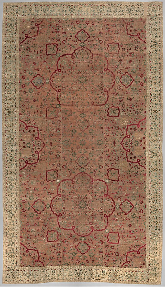 Mughal silk and velvet carpet
