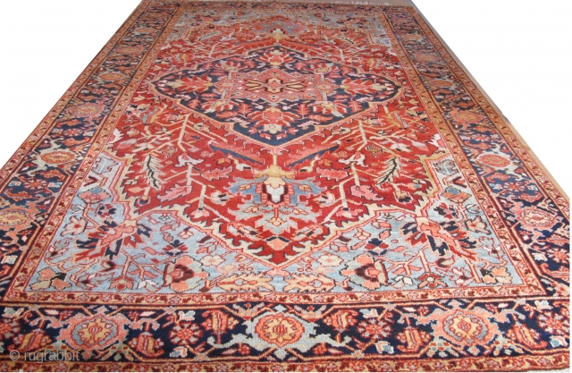 Pristine antique Heriz Carpet 3.48m x 2.30m. Fine weave, wonderful colours and beautifully drawn. The condition is excellent.