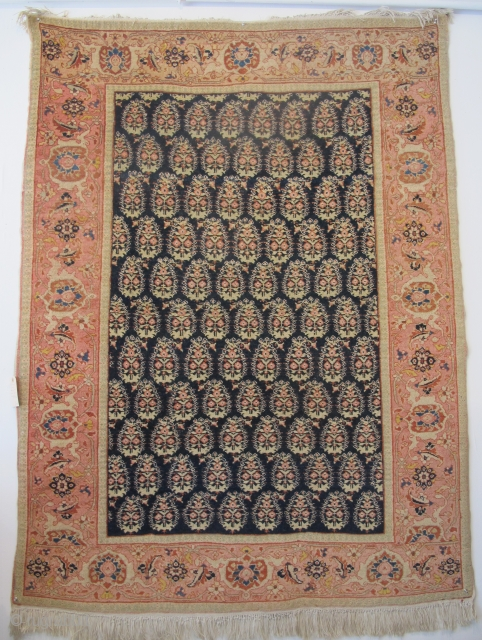 Antique Haji Jalili Tabriz rug, 1.70m x 1.27m, elegant design with repeat botehs. Fine wool, excellent condition.