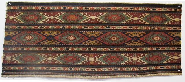 "19th century Shahsavan Soumac Panel, 3'6"" x 1'6"" (106cm x 45cm). Very nice colours"