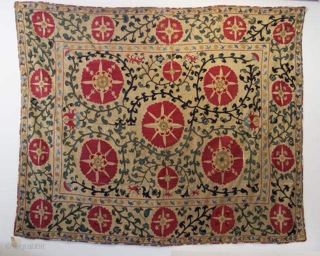 "Samarkand Suzani, 2.25m x 1.95m (7'4"" x 6'3""), second half of 19th century, silk embroidery on cotton."