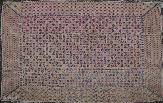 Zhuang Wedding Blanket: Excellent, circa 1950s, 3 paneled weaving from the Zhuang ethnic group in Guangxi Zhuang, Southern China. The body is woven from very fine handmade cotton thread while the weft  ...