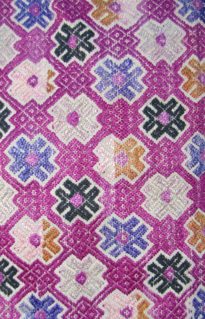 """Bouyi Wedding Blanket   Fine three panel wedding blanket from the Bouyi (Buyi) ethnic group Libo County, Guizhou, China. The supplementary weft """"well"""" patterned embroidery is silk except for the black medallions- the  ..."""