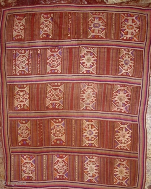 Antique ethnographic Lao textile- Special Offer: Lovely semi antique, circa 50 years plus, silk supplementary weft embroidered all and handspun silk blanket, from the Tai Daeng/Tai Dam ethnic group Laos. This piece  ...
