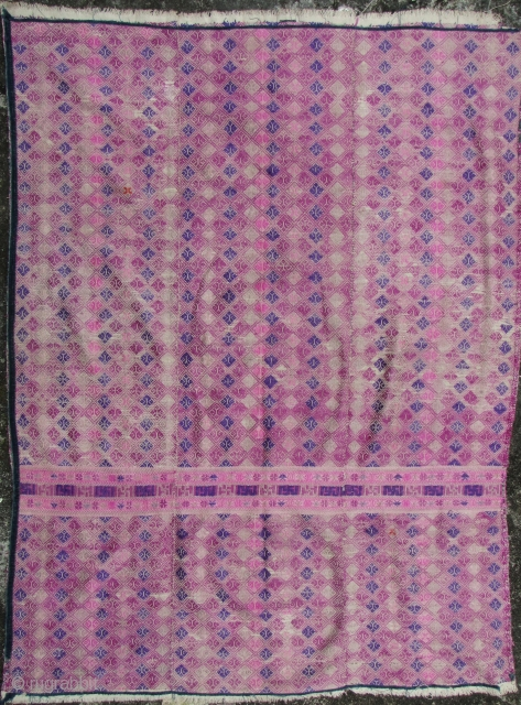 Old three paneled wedding bed cover from the Zhuang ethnic group Southern China- silk floss weft embroidered pattern on hand woven cotton field. Good condition- some minor loss to corner edge. L:  ...