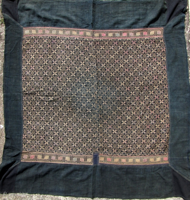 Miao Blanket: Good early 20 the century Miao wedding blanket from the Antai area, Guangxi Zhuang, China. The base is made from all handspun cotton with silk and cotton warp embroidered   ...