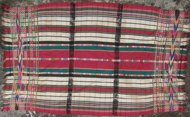 "Woman's Blanket from the Chin, Mizo people of Assam or Western Burma. This type of ""prestige cloth"" would be worn only by married women on ceremonial occasions. Some stains, splits at the  ..."