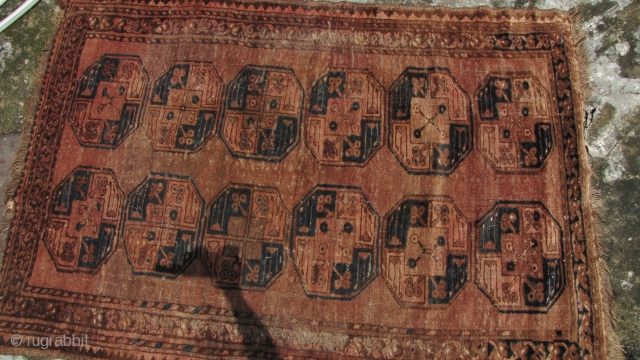 Special Offer: Nice old supple Turkomen Ensari, carpet circa 1920- some worn areas and about 5cm missing from the head ends, and a couple of small moth holes. All wool with natural  ...