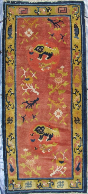 """Ningxia Carpet: Good circa late 19th/early 20th ce, Ningxia Tibetan Buddhist temple runner with two playful female """"foo dogs"""" and pup, medallions, representing the nurturing aspect of the Yin principle, against an  ..."""