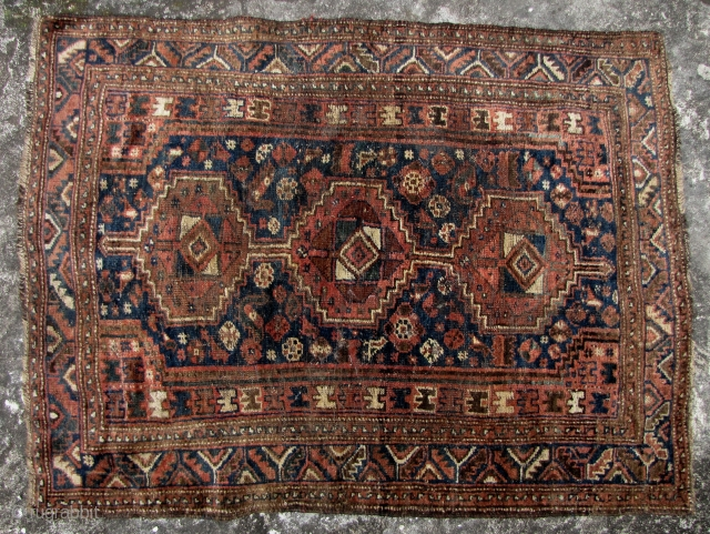 Special Offer: Nice old Qasghai (Iranian tribal) wool rug all vegetable dyes, There are about 6, 1cm-2cm moth holes (a fixer upper). Circa late 19th to early 20th century.  L: 142cm/155in  ...