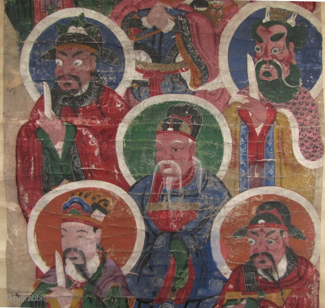 Large Taoist painting depicting deities.- 120 years old. This piece is dated 29th year of Emperor Daoguang- 1849. The dedication reads it is was gifted by a Li Qinfeng to what I  ...