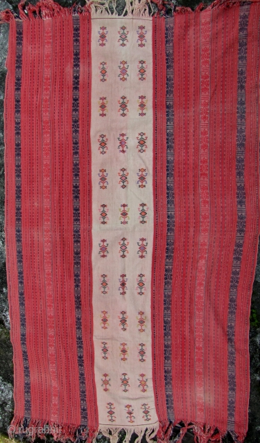 Timorese Men's Blanket: Good Amfoang, West Timor men's mantle using supplementary warp weaving decoration on the side panels and quirky embroidered animals in the center panel. This piece is late 20th century  ...