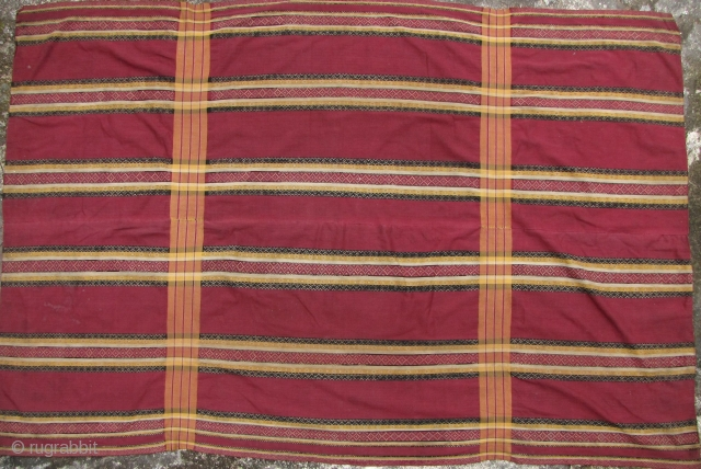 Chin Men's Ceremonial Blanket: Very fine cotton and silk Northern Chin, Myanamr, heirloom, ~cong-nak puan, men's blanket most likely from the Falam or Matupi township, Burma, circa 1940-1960. This is in outstanding  ...