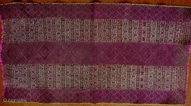 Khami Woman's Blouse: Exquisite woman's breast panel from the Khami or Mro subgroup of the Chin ethnic group, Myanmar, with beaded selvedge and very intricate single faced weft supplementary pattern, from Mrauk-U,  ...