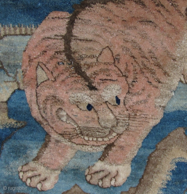 Outstanding Tiger Rug, Baotou, Nei Mongol, China. Circa late 19th/early 20th century. 160cm x 90cm. Nice abrash. Some small old repairs, please see last enlargements at the link provided below for close  ...