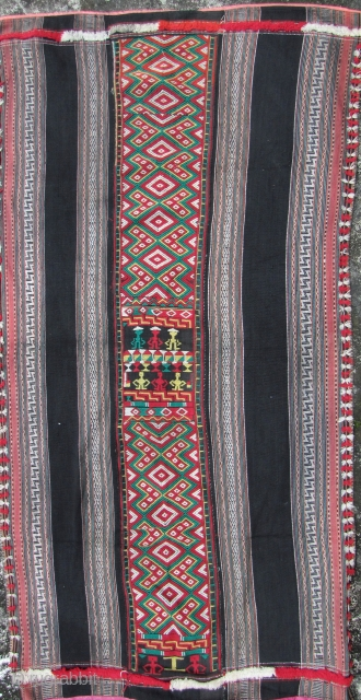 Vietnamese Sarong: Colorful Stieng woman's wrap around skirt from the Xtiêng (Stieng), estimated population of 7000, minority Binh Duong Province and Dong Nai Province of southeastern Vietnam. Hand woven with handspun cotton  ...