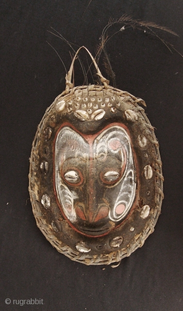 Papua New Guinea Mask: Classic example of Papuan New Guinea art in the form of a mask made from mud, a turtle shell a few lyre bird feathers and ochre pigment. I  ...