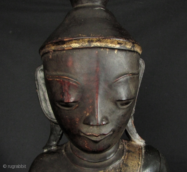 Late 19th century, large, Shan/Tai Yai Buddha. There is a crack on the shoulder and arm, a couple of chips on the base and minor loss to lacquer- but over all this  ...