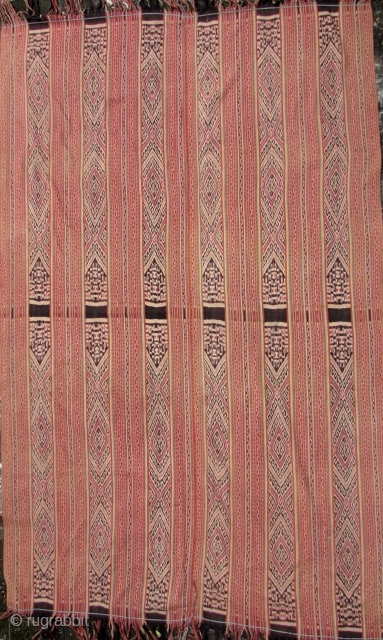 Indonesian Ikat: Unique signed men's blanket from the Biboki region, West Timor. The writing is different from the center then it is from the ends so perhaps, this is a dedication or  ...