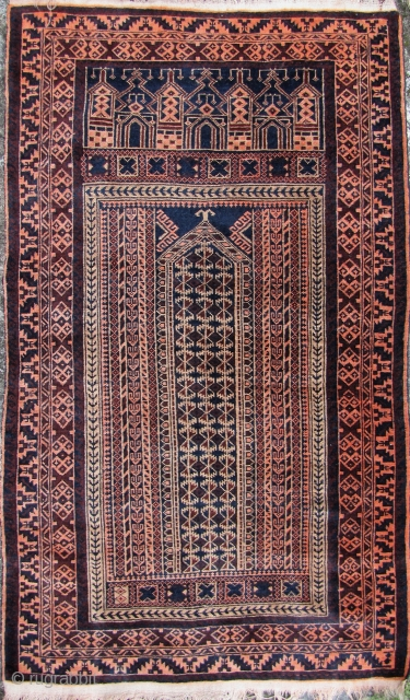 "Lovely Afghan Baluch ""Five Mirahb"" design from Tchichaktu. This was made circa 1970/1980. Aside from some missing fringe this carpet is in excellent condition. L: 150cm/56in W: 90cm/35.5in."