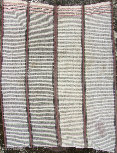 Khami Blanket: Rare blanket from the Khami/Mro ethnic group, Burma. This is made from all handspun cotton and natural dyes and is quite unusual in that it is composed of 5 panels.  ...