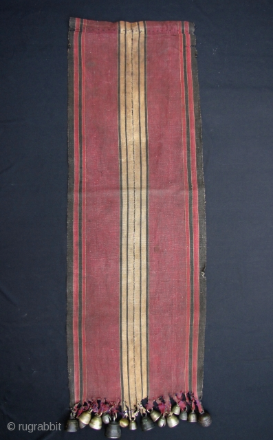 """Antique Burmese Shaman's Tunic: Fine and rare 19th century, 2 paneled, ceremonial men's """"bell"""" cape (khing ta zhi) from the Southern Chin ethnic group in Burma- this piece would have been worn  ..."""