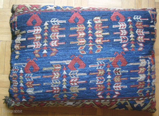 LOVELY SHAHSAVAN PILLOW MADE OUT OF A NEVER SEEN BEFOR SHAHSAVAN SUMAC TEXTILE. IF YOU HAVE ANY INFORMATION ABOUT SIMMILAR DESIGN ELEMENTS YOU ARE MOST WELCOME FOR ANY SUGESTIONS, THANKS