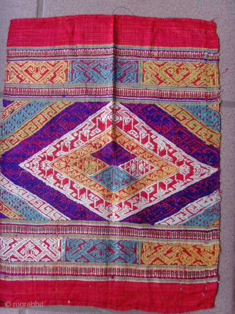 Tai Lue weaving, silk supplementary weft with silk embroideries.