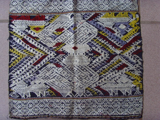 Tai Lue weaving, cotton supplementary weft with silk embroideries. Minority group Laos and Thailand. Early 20th century. 0.36 X 0.34  m