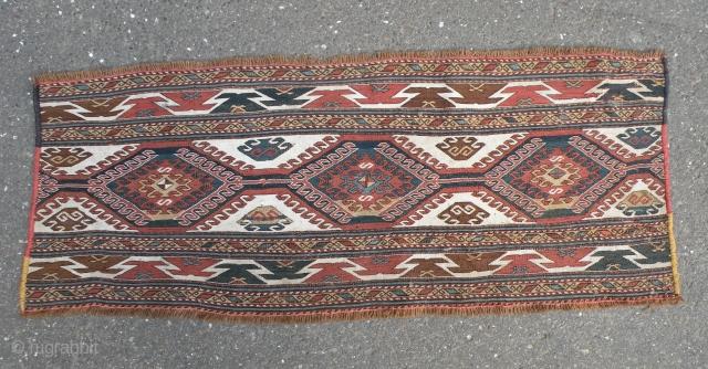 Antique  caucasus soumakh mafrash side pannel, 45x114 cm