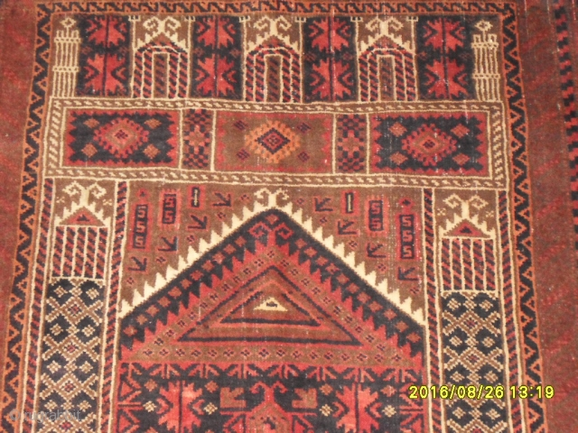 Antique Türkmen Prayer Baluch Carpet size: 145x92