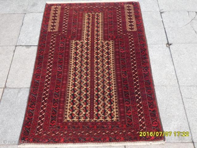 Antique Türkmen Baluch Prayer Carpet Perfect Size:135x90