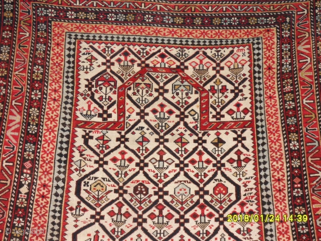 Antique Caucasia Prayer White Marashali Carpet size: 150x112