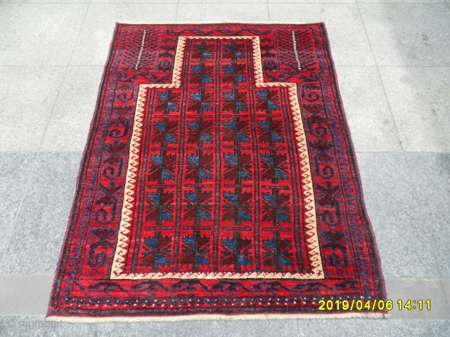 Antique Türkmen Prayer Belüç Carpet size: 115x90 cm.