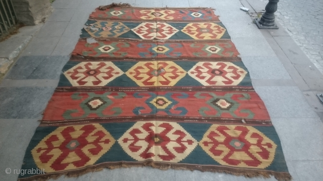 Antique Caucasian Kazak Kilim Great Colors and Old piece size 265x185