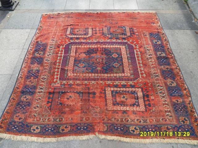 Antique Anatolian Fragment Bergama Carpet size: 191x182 cm.
