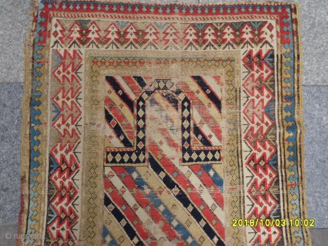 Antıque Caucasian Prayer Fragment Carpet size:152x86 cm.