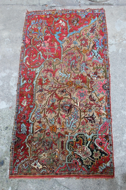 "Stunning Bijar Vaghireh with vaq-vaq pattern, woven on a wool foundation.  Size is 250 x 130 cm (8'3"" x 4'3""). Full lustrous pile but with scattered areas of moth damage, including  ..."