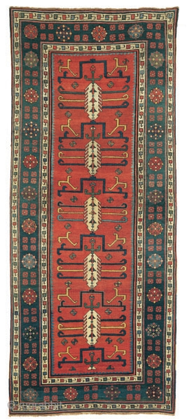 Red ground Talish rug with cypresses and hooked motifs
