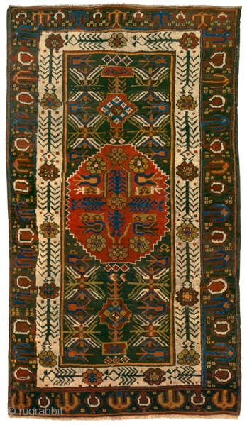 """Medallion and tulips rug Karapinar Central Anatolia circa 1850 223 x 128 cm (7'4"""" x 4'2"""")  symmetrically knotted wool pile on a wool foundation In her ground-breaking article on the carpets in the mosques from the Konya  ..."""