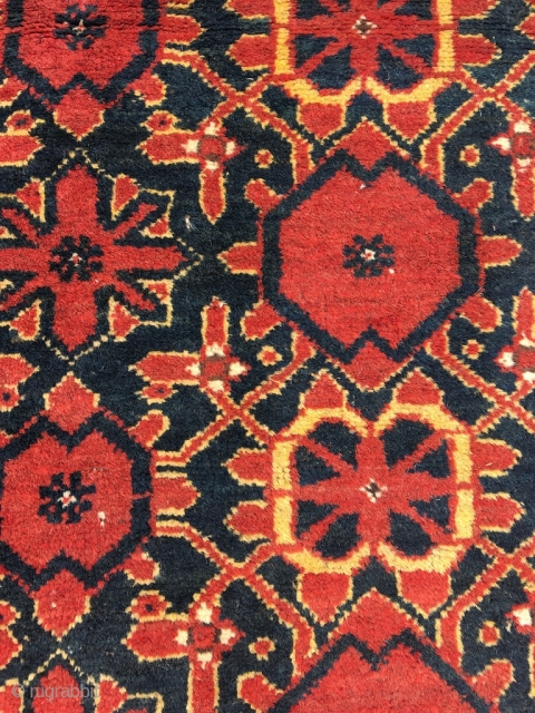 Ersari Mina Khani rug, mid 19th century. Knots on the back worn smooth from tribal use. Some nibbles and wear, very good condition given the age. Wonderfully saturated colors, fat wool. Not  ...
